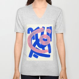 Tribal Pink Blue Fun Colorful Mid Century Modern Abstract Painting Shapes Pattern Unisex V-Neck