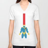 cyclops V-neck T-shirts featuring Cyclops by gallant designs
