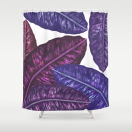 Tropical Leaves - Ultra Violet 1 Shower Curtain