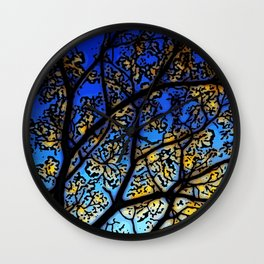 Leadlight Blossoms Wall Clock