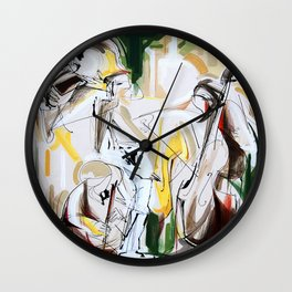 Expressive Musicians Playing Cello Flute Accordion Saxophone drawing Wall Clock