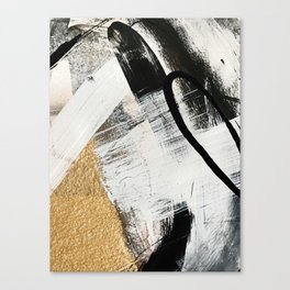 Armor [9]: a minimal abstract piece in black white and gold by Alyssa Hamilton Art Canvas Print