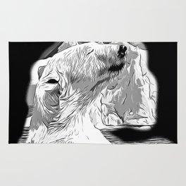 icebear polarbear enjoying vector art black white Rug