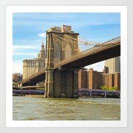 Brooklyn Bridge on a Sunny Day Art Print