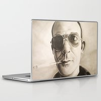 hunter s thompson Laptop & iPad Skins featuring Hunter S. Thompson Portrait in Charcoal by GileOne