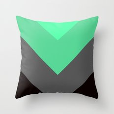 Mint Green Gray Chevron Stripes Throw Pillow