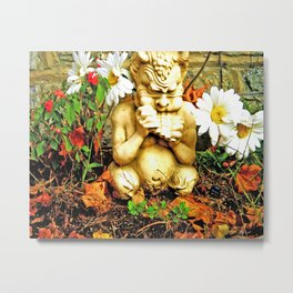 Mystical Flowers and Statue Metal Print