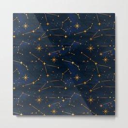N48 - Indigo dark blue night space with shining stars by Arteresting Metal Print