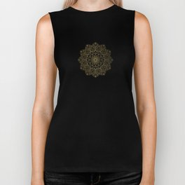 Gold Mandala Pattern On Cherry Red Biker Tank