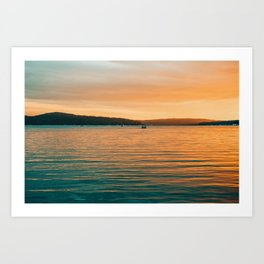 Sunset By Boat Art Print