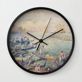 Henri Edmond Cross - Regatta In Venice Wall Clock