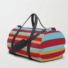 Golden, Red Wine and Turquoise Vintage Stripes Duffle Bag