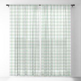 Gingham Light Green Sheer Curtain