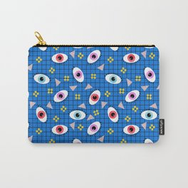 Hungry - eyes retro grid throwback 1980s minimal modern pattern print wacko designs neon Carry-All Pouch
