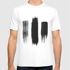 Black lines MEDIUM White Mens Fitted Tee