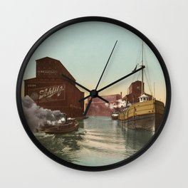 South Branch of the Chicago River at 14th Street 1900 Wall Clock