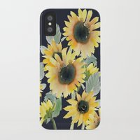 craftberrybush iPhone & iPod Cases featuring Sunflower watercolor  by craftberrybush