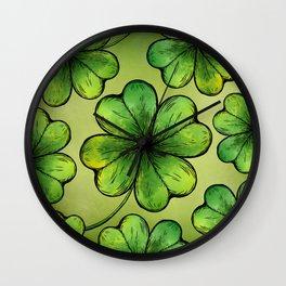 Four-leaf Lucky Clover Shamrock Pattern Wall Clock