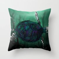 sea turtle Throw Pillows featuring Sea Turtle by Ben Geiger
