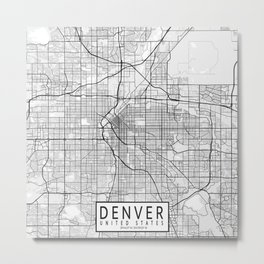 Denver City Map of the United States - Light Minimalist Metal Print