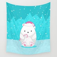 polar bear Wall Tapestries featuring Polar bear by eDrawings38