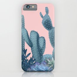 Milagritos Cacti on Rose Quartz Background iPhone Case