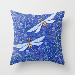 Pretty Dragonflies Throw Pillow