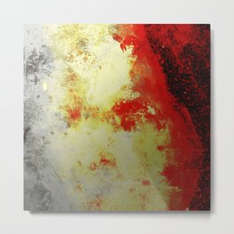 Into The Heat - Black, red, yellow and silver abstract painting Metal Print