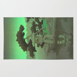 Kawase Hasui Vintage Japanese Woodblock Print Glowing Green Neon Sky Over A Zen Garden Shrine Rug