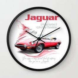 1969 Jaguar E-Type Series 2_Classic Red Wall Clock