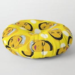 Yellow Ms. Adu Pattern Lover's Rock Floor Pillow