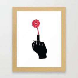 The One Fingered (Hippy) Solute Framed Art Print