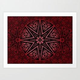 rashim red star mandala Art Print