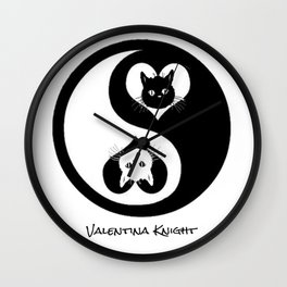 Ying Yang Kitty Valentines Day Balance Purfection :) Wall Clock