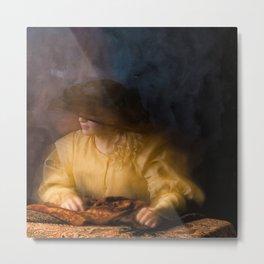 Girl in Rembrandt light Metal Print