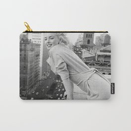 Mari-lyn Monroe on a Balcony in New York , Gift, Home Decor, photography, American icon, actress, Vintage poster, print, Carry-All Pouch