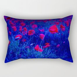 Red in Blue Rectangular Pillow