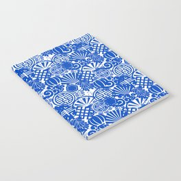 Chinese Symbols in Blue Porcelain Notebook
