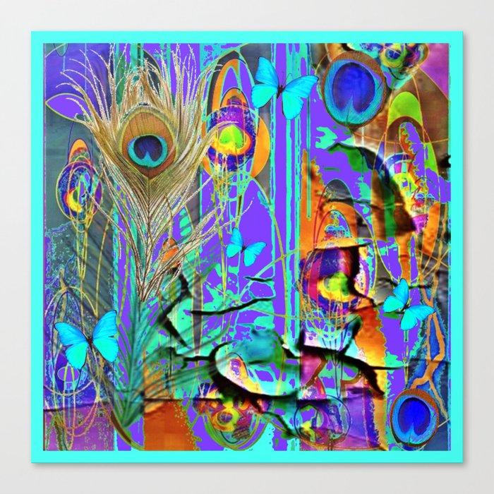 Blue Butterfly Shabby Chic Peeling Peacock Purple Wallpaper Canvas Print By Sharlesart