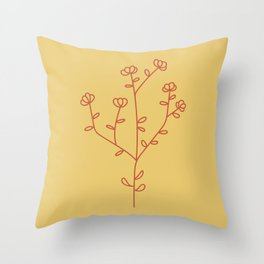 Fantasy Flower Red Throw Pillow
