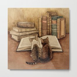 Kittens Reading A Book Metal Print