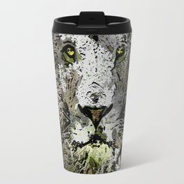 LION KING OF BEASTS ABSTRACT PORTRAIT Travel Mug