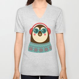 Holiday Hipster Pinguin Unisex V-Neck