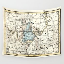 Constellations Ophiuchus and Serpents, Celestial Atlas Plate 9, Alexander Jamieson Wall Tapestry