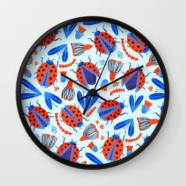 Classic Ladybug Botanical  Wall Clock