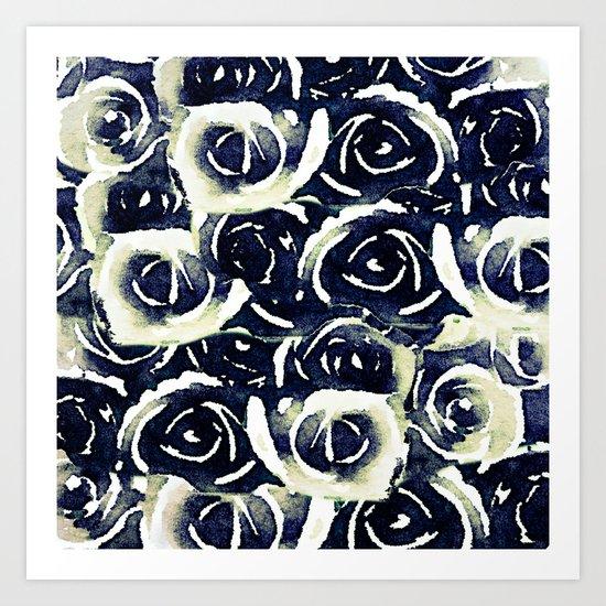 roses in deep blue Art Print