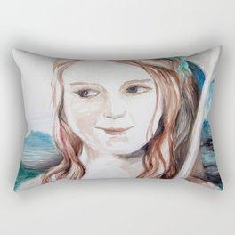 girl with flower and umbrela Rectangular Pillow