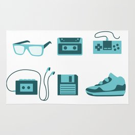 I Love the 80s in Blue - Sneakers Retro Walkman Sunglasses Video Game Controller Rug