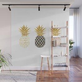 fun pineapple design gold Wall Mural