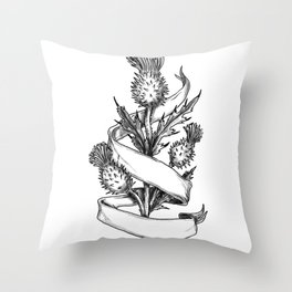 Scottish Thistle With Ribbon Sketch Throw Pillow